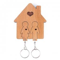 Kľúčenka Domček s motívom muž a žena