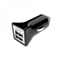 USB Autós Töltő approx! AP-APPUSBCAR31B 3.1 A 2 USB port
