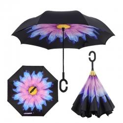 Dáždnik s opačným otváraním modro-čierny
