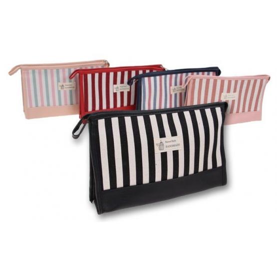 Kozmetikai táska csíkokkal