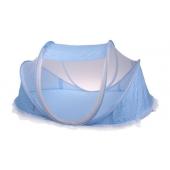 Gyermek összecsukható kiságy - kék szúnyogháló