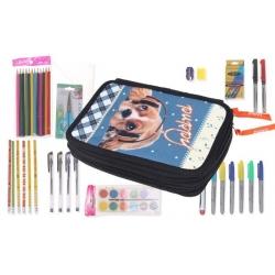 Kétszintes iskolai tolltartó tanszerekkel PUPPY