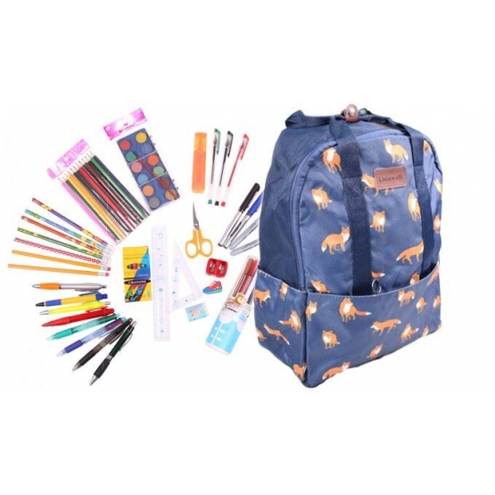 Batoh modrý s líškami s náplňou školských potrieb