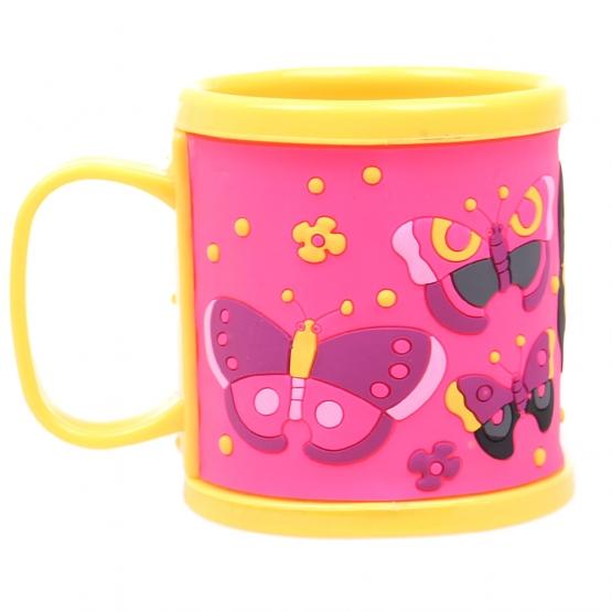 Hrnček detský plastový (žltý s motýle)